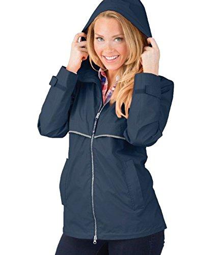 Charles River Apparel Women's New Englander Wind & Waterproof Rain Jacket (Reg/Ext Sizes), True Navy Reflective, L
