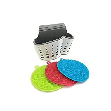 Three Piece Silicone Antibacterial Dishwashing Scrubber Sponges, Food Grade, BPA Free, Multifunctional Kitchen Set Bundle with Two Pocket Sink Caddy Sponge, Soap and Brush Holder (4 pcs)