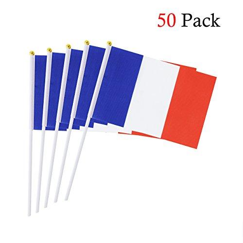 Hemore Banderas Pequeñas,Banderas de Mano,50 PCS 14 x 21CM Mini Banderas de Francia