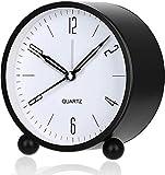 Despertador, Despertadores de cabecera Reloj silencioso de escritorio para dormitorio con retroiluminación de campana doble, Despertador analógico portátil de cuerda sin tictac, alimentado por batería