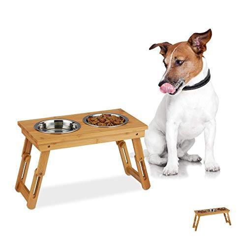 Relaxdays Ciotole Rialzate, per Cani di Media Taglia, Acqua & Cibo, Regolabile & Pieghevole, 26x47x23 cm, Legno Naturale, bambù, Acciaio Inox, 2 1 Porta