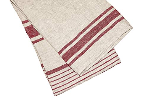 """Organic Softened Stonewashed Christmas red color Linen 100% Flax Bath Towel. Best quick dry lightweight Towel. Hypoallergenic and ecological.28"""" X 56""""."""