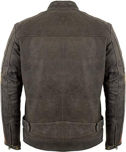 Herren Retro Motorrad Lederjacke (L) - 3