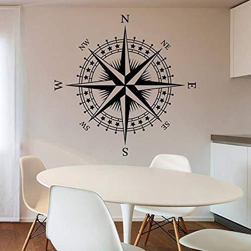 mlpnko Nautische Kompassrose abnehmbare Wandtattoo Schlafzimmer Wohnzimmer Wohnkultur Kunst Poster Wandaufkleber,CJX16395-166x166cm
