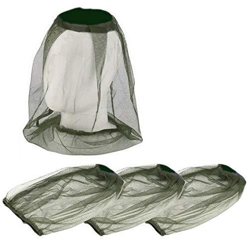 Lezed Moskito Kappe Imkerhut Kopfnetz Anti Moskito Maske Kopfschutz Nackenschutz NetzHut (3 Stückm, Grün)