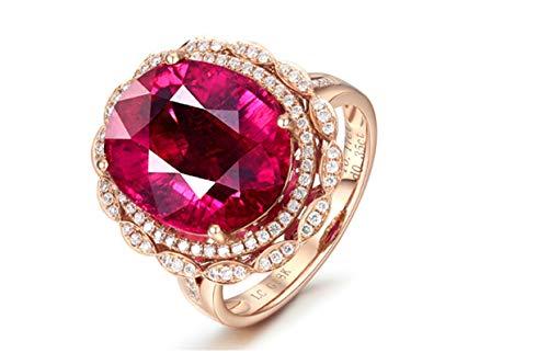 KnSam Bague Femme Fine Tourmaline Rouge Naturelle 10.17ct Fastueux, Or Rose 18 Carats Élégance Cadeau Noël