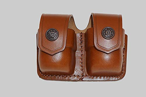 ALIS038 Double Speedloader Carrier/case/Pouch for 357 Magnum 6 & 7 Shots, 44 Magnum 5 Shot, S&W .38 Special 6 Shot Genuine Leather Handmade!