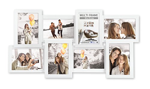 Eurographics Multiframe - 8 White Collage-Bilderrahmen, Holz, weiß, 37 x 64 x 3.8 cm