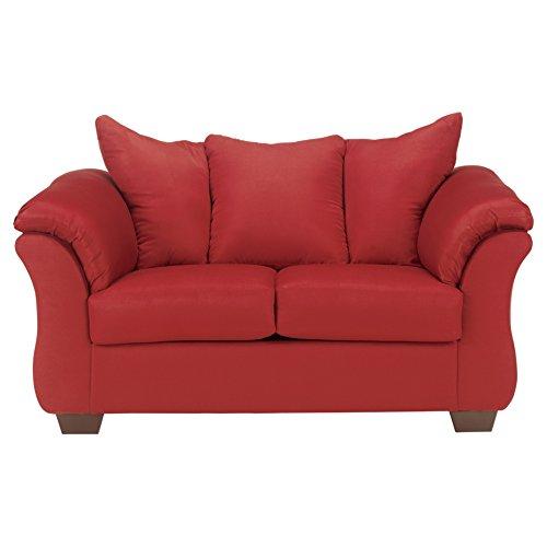 Ashley Furniture Signature Design - Darcy Love Seat - Contemporary Style Microfiber Couch - Salsa