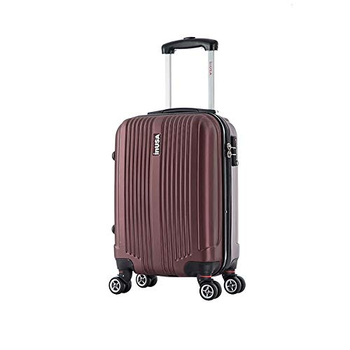 InUSA San Francisco Hardside 18 Inches Carry-On Spinner Luggage with Ergonomic Handles, Travel Suitcase with Four Spinner Wheels and Studs, Wine