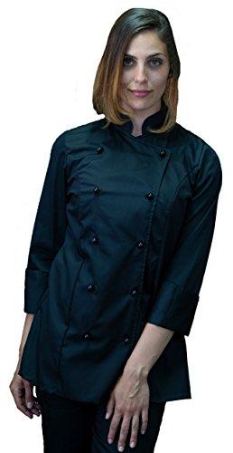 tessile astorino Ricamo Gratuito - Giacca Cuoco da Cucina - Casacca Chef Donna - Nera - Made in Italy (M)