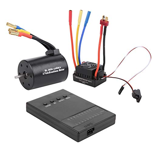 Duokon 3650 4300KV Scheda di Programma Motore brushless 60A ESC, Motore brushless sensorless, con ESC Impermeabile BEC e Set Combinato di schede di Programmazione, per Auto RC 1/10