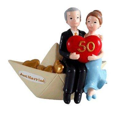 DISOK - Figura Pastel 50 Aniversario Barco - Figuras Tarta, Pastel Aniversarios Bodas de Oro