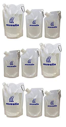 Recreatio | Trinkbeutel Set XXL |3X 350ML, 3X 500ML, 3X 1L| Falt Beutel Flasche BPA Frei | Faltbare Trinkflasche durchsichtig | Wasserflasche | Wasserbeutel | Soft Flask | Festival Falt Trinkflasche
