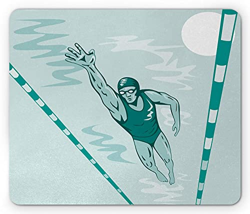 Olympics Mouse Pad, Sportwettkampf Schwimmer Männlicher Athlet Pool Rekordverdächtiges Rennthema, Rechteck rutschfestes Gummimousepad, Standard Seafoam Jade Green