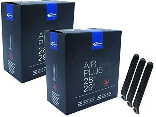pneugo! Schwalbe Sclaverand 40-622/62-622 SV19 (Air Plus) - Set de 2 cámaras de aire para bicicleta (28') y 3 desmontadores