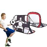But de Foot Enfant Pliables,Cage Pop Up Filet But de Foot 2 en 1 But d'entrainement Cage de Foot Exterieur Jardin,Filet d'entraînement de Football,Avec Sac Rangement et Piquets