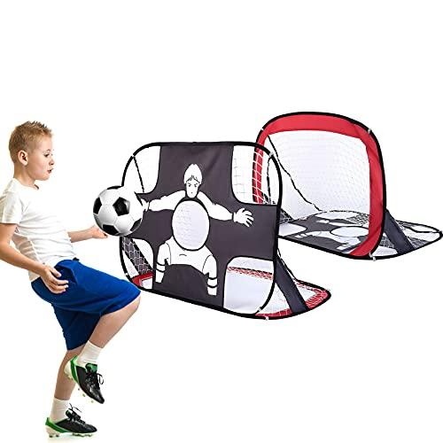Fussballtore für Garten Kinder,Pop Up Tor,Fußballtor mit Torwand 2 in 1 fussballtor draußen Faltbare Fußballtore für Kinder Fußballtraining Garten,Indoor, Outdoor 110 x 80 x 80 cm