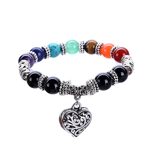 VIKI98 10MM 7 Chakra Religion Healing Balance Stone Beaded Bracelet Yoga Reiki Charm Heart Bracelets For Women