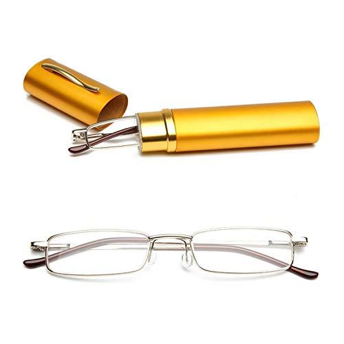 KOOSUFA Lesebrillen Herren Damen Tragbar Brillenhülle Metall Klassische Scharnier Schmal Leichte Stil Stärken lesebrille mit Etui Taschenclip Brillenetui (Gelb, 1.5)