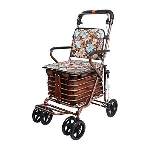 Carrito de supermercado Plegable y Ligero Carrito de Compras multifunción El Carro Anciano Little Pull Car Car Wheelbarrow Puede Empujar para Sentarse con el Caminante Plegable Cuatro Scooter