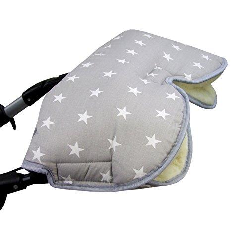 BAMBINIWELT universaler Muff/Handwärmer für Kinderwagen, Buggy, Jogger mit Wolle, Baumwolle (grau weiße Sterne) XX