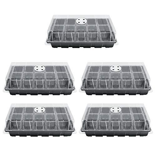 5 Stücke Zimmergewächshaus Anzuchtkasten Treibhaus Anzuchtschale Mini Gewächshaus Anzuchtset mit Deckel und Belüftung, Keimschalen Pflanzschalen Keimlinge Anzuchtschalen (15 Zellen, Schwarz)