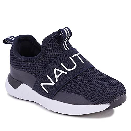 Nautica Kids Boys Fashion Sneaker Slip-On Athletic Running Shoe for Toddler and Little Kids-Tuva-Navy Knit Black-8