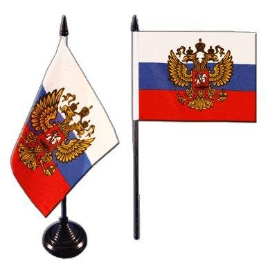 Tischflagge / Tischfahne Russland mit Wappen + gratis Aufkleber, Flaggenfritze®