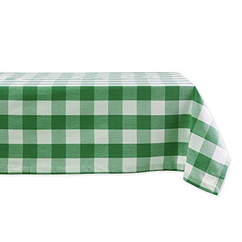 DII Buffalo Check Collection Classic Tabletop, Tablecloth, 52x52, Green & White