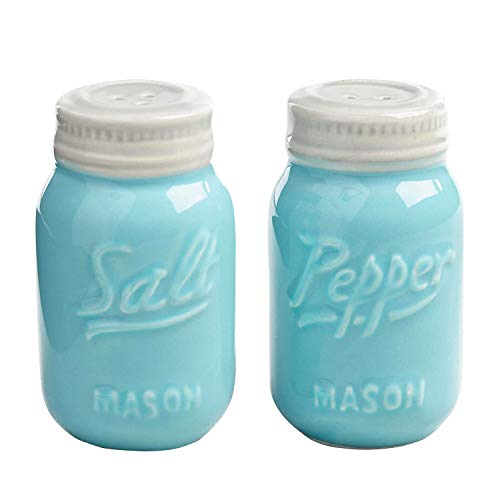 World Market Ceramic Mason Jar Salt and Pepper Shaker - Great Kitchen Accessories 1 Salt and 1 Pepper Jar - Retro Table Countertop and Kitchen Decor Wrap for Holiday Giveaways, and Souvenirs - Blue