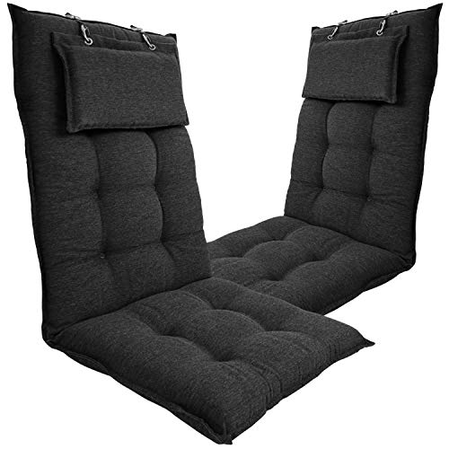 DILUMA | Hochlehner Auflagen 2er Set 119x50 cm Luxor Anthrazit mit Kopfpolster | Luxus Stuhlauflage mit 8 cm Polsterung