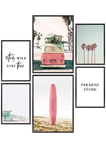 Heimlich® Premium Poster Set | Stilvolles Set mit passenden Bilder als Wohnzimmer Deko | 2 x DIN A3 & 4 x DIN A4 - ca. 30x42 & 21x30 | ohne Bilderrahmen » Surfer Beach «