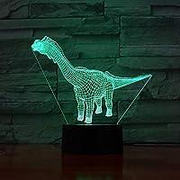 3Dイリュージョンナイトライト 恐竜の動物 スマートタッチ 子供のための3Dランプ照明7LED色変更タッチテーブルデスクランプクールなおもちゃギフト誕生日目の錯覚ランプクリスマスの装飾