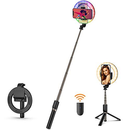 OOPOR Selfie Ringlicht mit Stativ - Selfie Stick 12 Farbe RGB Light Ringlicht Led Ringleuchte Wiederaufladbar Selfie Ringlicht mit Bluetooth Fernbedienung für Selfie Make-up Fotografie