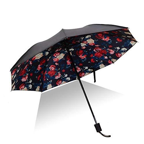 Mdsfe Hochwertiger Regenschirm Mann Regen Frau Winddicht 3D Blumendruck sonnig Anti Sonne 3 Klappschirm Außenschirm - als Bild3