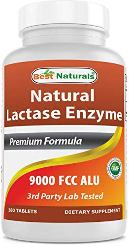 Best Naturals Lactose Intolerance Relief Tablets with Natural Lactase Enzyme, Fast Acting High Potency Lactase, 9000 FCC ALU, 180 Count