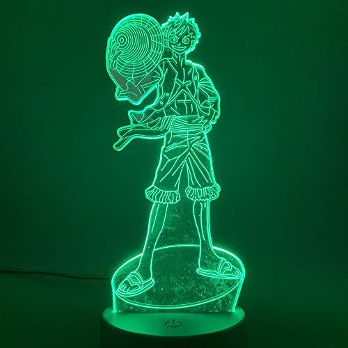 LED-nachtlampje 3D-vision-zeven kleuren-afstandsbediening Japanse animatie een aap karakter action afbeelding decoreren kinderkamer nacht cadeau voor kinderen jongens nachtlampje voor slaapkamer