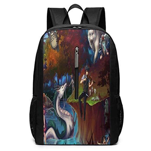 Princ Mononoke Backpacks 17 inch School Bag College Bags Laptop Backpack Large Capacity Backpack