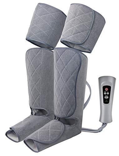 Oliver James Massagegerät für Füße, Waden und Oberschenkeln, Beinmassagegerät mit 5 modi und 4 Luftkompression Intensitätsstufen, zur Linderung Wadenschmerzen, Schwellungen und müde Beine