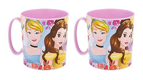 OTRA 3166; Pack de 2 Tazas Micro Disney Princesas; Princess; Capacidad 350 ml; Producto de plástico, Reutilizable; No BPA.