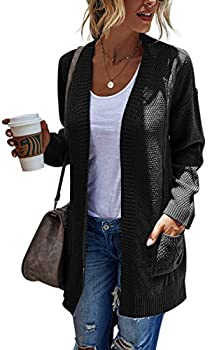 Hibluco Women s Long Sleeve Knit Sweater Open Front Cardigan Outwear with Pockets Black