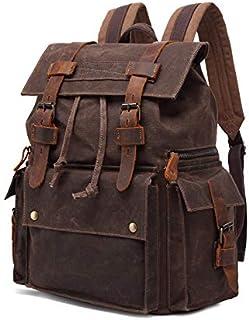 Men's Waterproof Oil Wax Canvas Bag Outdoor Travel Backpack