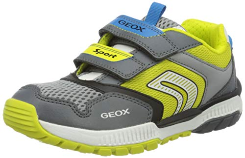 Geox Jungen J Tuono Boy A Sneaker, Grau (Dk Grey/Lime C1267), 38 EU