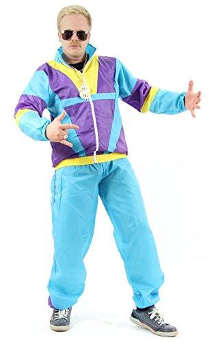Foxxeo 80er Jahre Trainingsanzug Kostüm für Herren zu Fasching und Karneval – Größe L