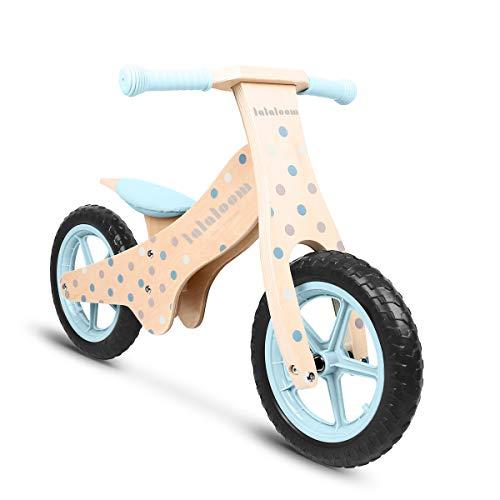 Lalaloom BUBBLE BIKE - Bicicleta sin pedales de madera para niños de 2 años (diseño topos, andador para bebe, correpasillos para equilibrio, sillín regulable con ruedas de goma EVA), color Azul