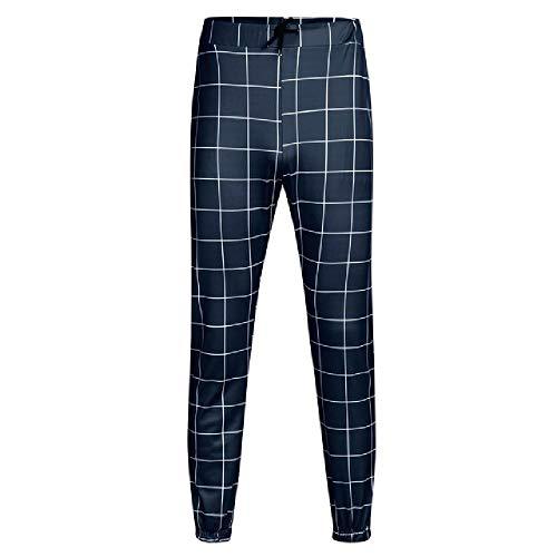 U/A Casual Pantalones en una jaula Pantalones Hombres Casual Plaid Impresión Cordón Cintura Elástico Casual Pantalones Largos Pantalones
