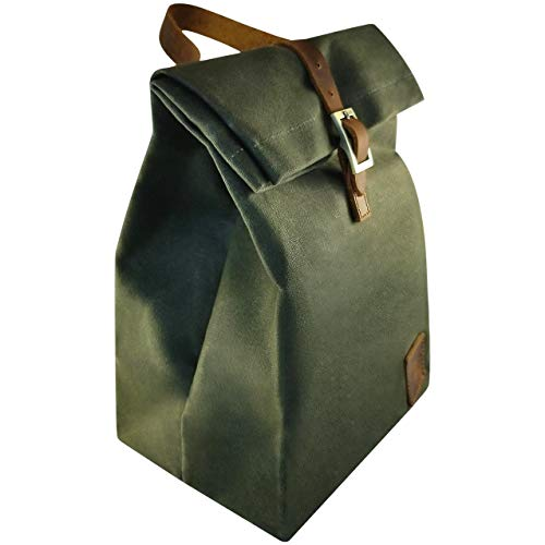 Waxed Canvas Lunch Bag (Green) - Insulated Waterproof Stain Resistant Tote Bag Sturdy Reliable Easy to Clean Eco Friendly | For Men Women & Children