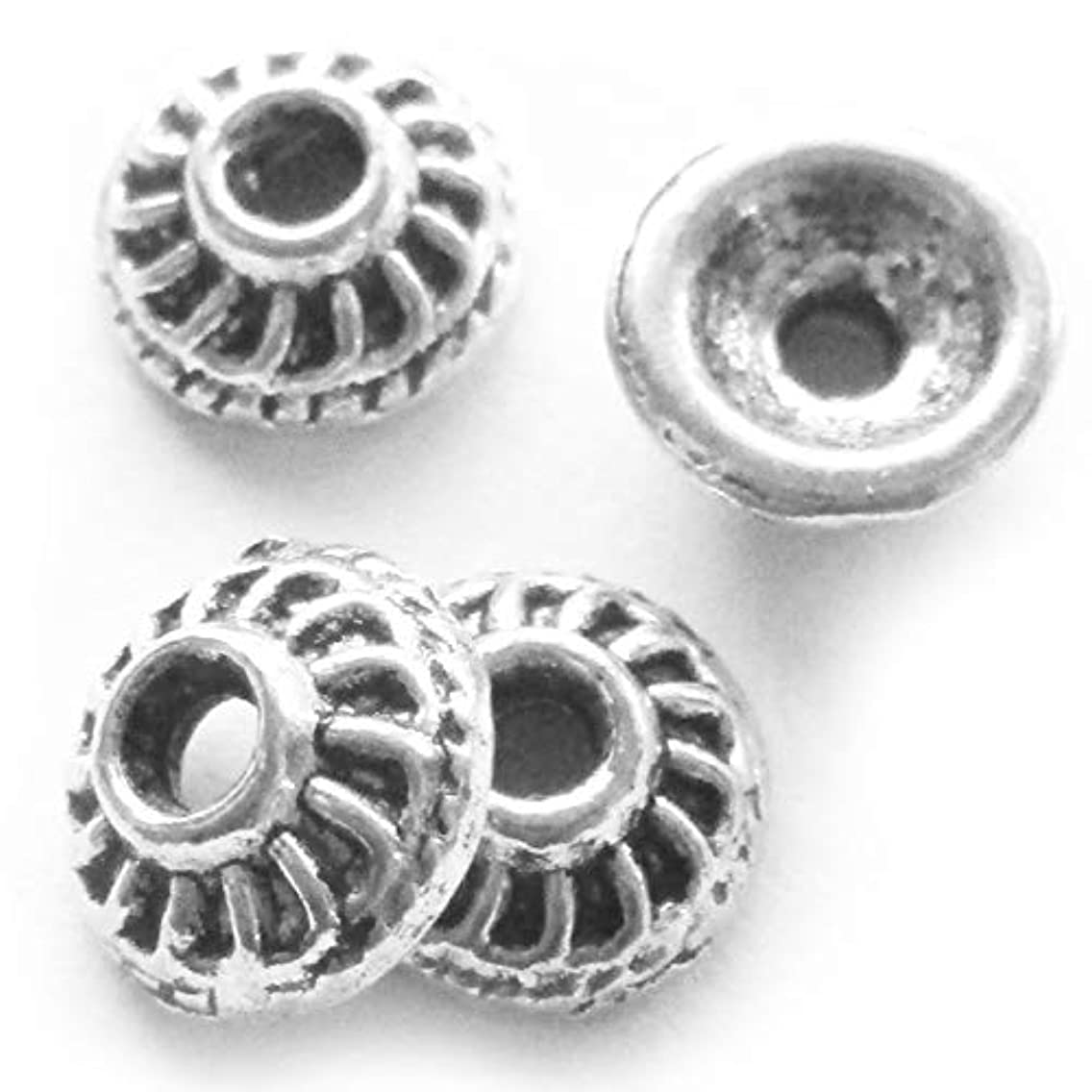 Heather's cf 100 Pieces Silver Tone Smooth Beads Caps Findings (Fit 6-8mm Round Beads) Jewelry Making