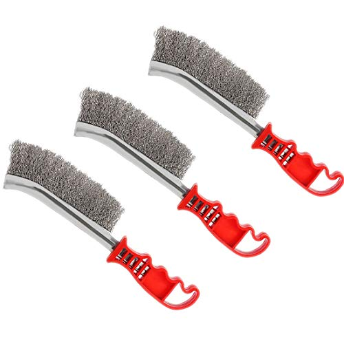 Modell 3pcs Wire Scratch Brushes Set Carbon Steel and Stainless Steel Wire Brush for Automotive, Cleaning Welding Slag and Rust